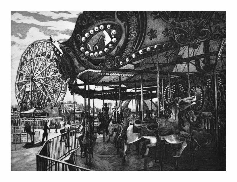 Etching - Carrousel and Wonder Wheel
